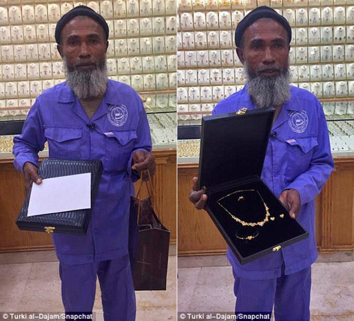 Саудовцы осыпали подарками и золотом уборщика, осмеянного в ювелирке